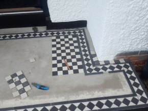 Tiling a Porch step at Parkfield, Taunton (During)