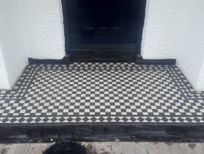 Tiling a Porch step at Parkfield, Taunton (Completed)
